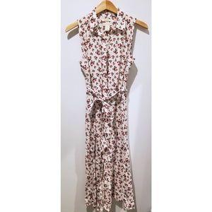 CYNTHIA ROWLEY Linen Red & White Floral Midi Dress